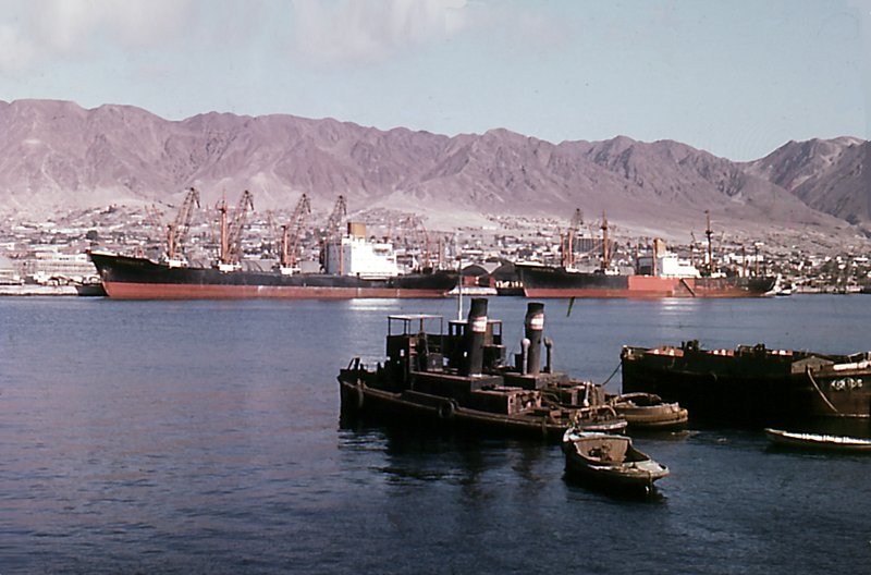 File:Two cargo ships of the North German Lloyd in the Chilean port of Antofagasta - 1963.png