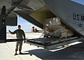 U.S. Army Chief Warrant Officer 4 Kelly Cawood, with the 641st Aviation Regiment, guides a forklift driver while unloading pallets of meals, ready to eat (MREs) from a C-23 Sherpa aircraft May 23, 2013 130523-Z-TK779-069.jpg