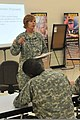 U.S. Army Col. Sandra Raveling, support operations assistant chief of staff with the 451st Sustainment Command, speaks with Soldiers assigned to the 451st on things to consider when planning a mission overseas 130608-A-DS122-061-CC.jpg