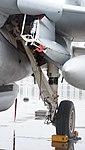 U.S. Marine Corps EA-6B Prowler(163046) of VMAQ-2 left main landing gear left front view at MCAS Iwakuni May 3, 2015.jpg