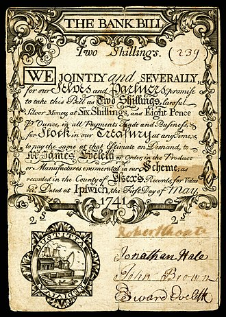 Massachusetts pound - Two shilling note, dated 1 May 1741.