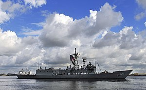 USS De Wert (FFG-45) leaving Mayport in July 2013.JPG