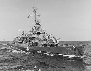 USS Harrison alongside USS McKee, 5 March 1945.