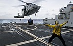 USS Lake Champlain conducts a replenishment-at-sea. (32748481655).jpg