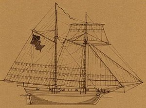 USS Scourge (1812) - Sail plan of the USS Scourge.