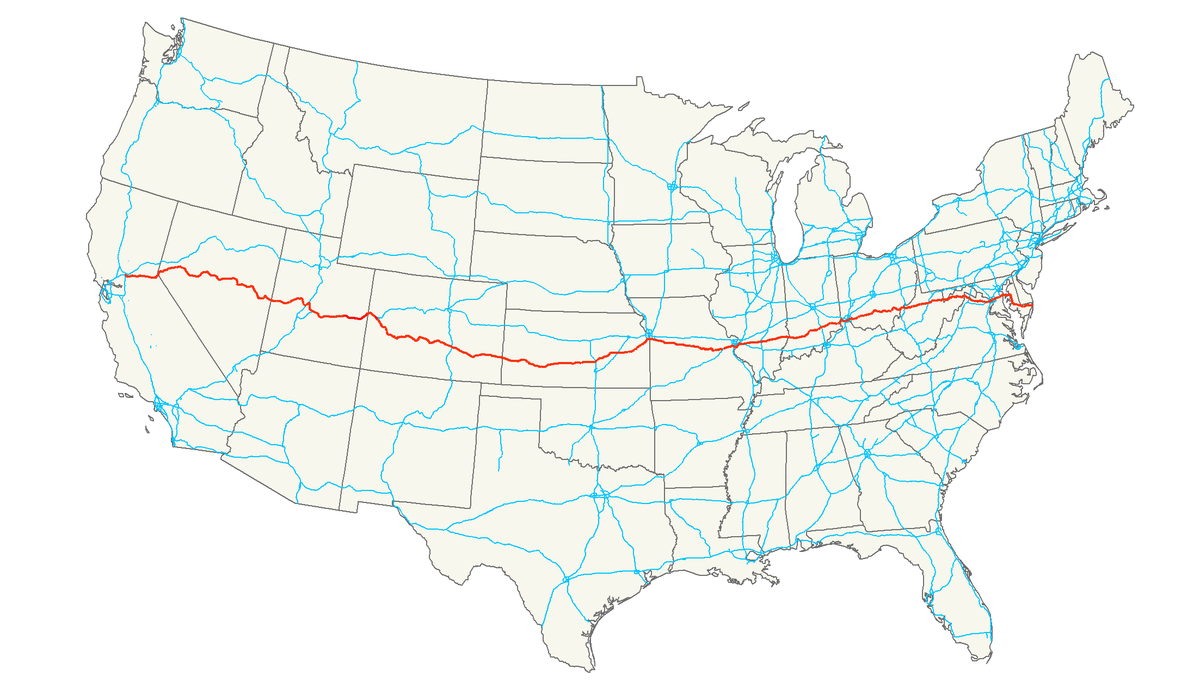 US Route Wikipedia - Us interstate map states