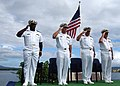 US Navy 040930-N-3019M-001 Members of the official party salute in front of the USS Nevada Memorial during the national anthem at a ceremony that established Naval Security Group Activity (NSGA), Hawaii.jpg