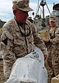 US Navy 050111-N-4383M-159 Commanding Officer, 15th Marine Expeditionary Unit (MEU), Col. Tom Greenwood, assists Sailors and Marines while unloading much needed food, water and relief supplies.jpg