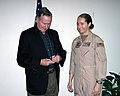 US Navy 060118-N-3207B-088 Patrol Squadron Four Seven's (VP-47) Senior Sailor of the Year, Aviation Machinist's Mate 1st Class Cindy Baker, receives an autograph.jpg