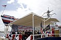 US Navy 090516-N-5549O-127 Ship's sponsor Alma Gravely, wife of the late Vice Admiral Samuel L. Gravely, addresses hundreds of guests during the christening ceremony for the Arleigh Burke class destroyer USS Gravely (DDG-107).jpg