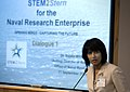 US Navy 090903-N-7676W-012 Dr. Sujata Millick, acting director of research, welcomes participants to the Office of Naval Research STEM2Stern forum, the first in a series of dialogues among key stakeholders from the Naval Resear.jpg