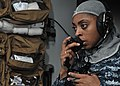 US Navy 101011-N-4743B-070 Logistics Specialist 2nd Class Tiffany Montgomery relays information on a sound-powered phone in the medical department.jpg