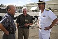 US Navy 110225-N-WP746-038 Retired Adm. Ronald Hays, left, Richard May Jr. and Rear Adm. Dixon Smith, commander of Navy Region Hawaii, share a laug.jpg
