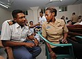 US Navy 110920-N-KK935-704 Hospital Corpsman 2nd Class Rochelle Quintyne discusses medical concepts with Lt. Nazmun Haque.jpg