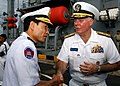 US Navy 111020-N-NJ145-140 Royal Cambodian Navy Vice Adm. Ouk Seyha thanks U.S. Navy Rear Adm. Tom Carney, commander of Task Force 73, after tourin.jpg