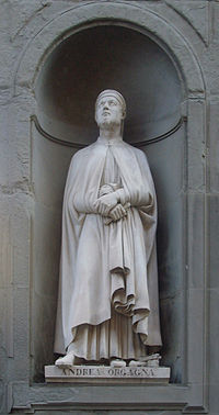 Statue of Andrea Orcagna in the Uffizi outside gallery in Florence carved by Niccolò Bazzanti at Pietro Bazzanti e Figlio Art Gallery, Forence