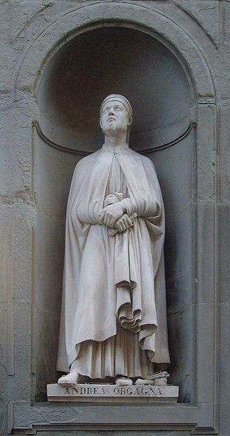 Orcagna - Statue of Andrea Orcagna in the Uffizi outside gallery in Florence carved by Niccolò Bazzanti at Pietro Bazzanti e Figlio Art Gallery, Florence