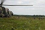 Ukrainian soldier dismount a helicopter, Rapid Trident 2016.jpg