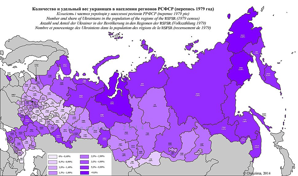 Ukrainians in Russian regions 1979