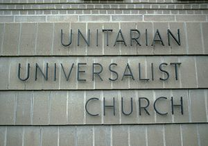 Unitarian Universalist Association - Sign on a UU church in Rochester, Minnesota, United States.