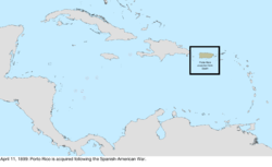 Map of the change to the United States in the Caribbean Sea on April 11, 1899