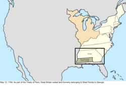 Map of the change to the United States in central North America on May 12, 1784