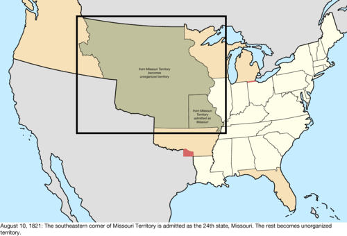 rest becoming unorganized territory it was defined as the area south of a line west from the des moines rapids and east of a line south from the mouth