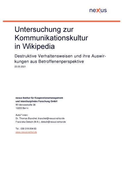 File:Untersuchung zur Kommunikationskultur in Wikipedia – Destruktive Verhaltensweisen und ihre Auswirkungen aus Betroffenenperspektive.pdf
