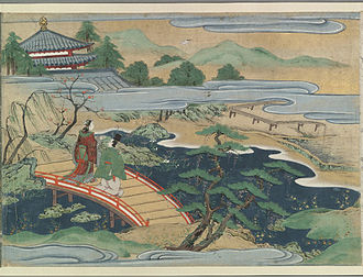 Oto-hime - Urashima and Otohime cross a bridge in the kingdom under the sea. Japanese painting, late 16th or early 17th century