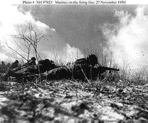 2nd Battalion, 7th Marines - Weapons Company, in line with Headquarters and Service Company, 2d Battalion, 7th Marines, trying to contact the temporarily cut off Company F in a glancing engagement to permit the 5th and 7th Marines to withdraw from the Yudam-ni area 27 November 1950.