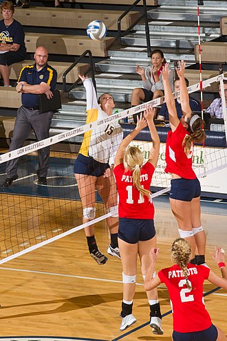 Dallas Baptist Patriots - The Patriots women's volleyball team in action against the Texas A&M–Commerce Lions in 2013