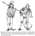 Varlet or Squire carrying a Halberd with a thick Blade and Archer in Fighting Dress drawing the String of his Crossbow with a double handled Winch.png