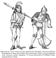 Varlet or Squire carrying a Halberd with a thick Blade and Archer in Fighting Dress drawing the String of his Crossbow with a double handled Winch