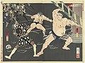Vechtpartij tussen brandweermannen en sumo worstelaars bij de Shinmei tempel Shinmei sumo toso no zu (titel op object) Nieuwe brokaten uit het Oosten (serietitel) Shinsen Azuma nishiki (serietitel op object), RP-P-1990-146.jpg