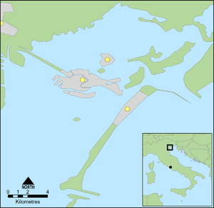 Dogado - The Venetian Lagoon, with Mestre marked on the mainland, then (north to south) Murano, Venice and the Lido in the lagoon