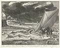Verdrinkingsdood van prins Johan Willem Friso, 1711 Jean Guillaume Friso Prince d'Orange et de Nassau &c. neie en passant le Moerdyk, le 14e Juilet 1711 (titel op object), RP-P-OB-83.331.jpg
