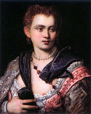 1575 in literature - Venetian poet and courtesan Veronica Franco painted in the style of Tintoretto c.1575