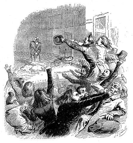 Скандал во время первой постановки «Эрнани» (1830). Литография Ж.-И. Гранвиля (1846)