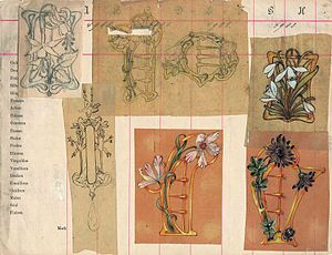 Victor Mayer - Designs of Art Nouveau jewellery and belt buckles, drawn about 1903 by Victor Mayer