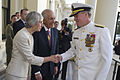 Victoria Gov. David de Kretser, center, and his wife, Jan, left, welcome U.S. Navy Adm. Patrick M. Walsh, right, commander of the U.S. Pacific Fleet, to the Government House in Melbourne, Australia 101107-N-TT977-095.jpg