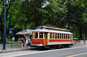 Portland Vintage Trolley - At the service's Lloyd Center station, on NE 11th Avenue at Multnomah Street, on the route followed until 2009