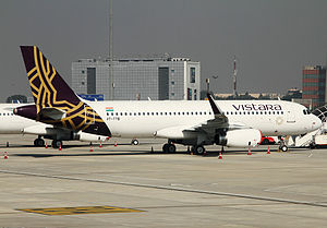 Vistara - Image: Vistara Airbus A320 232 at Delhi Airport