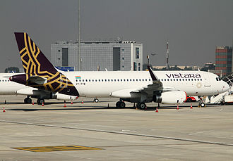 Vistara - Vistara's first Airbus A320 aircraft (VT-TTB) at Delhi IGI Airport