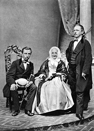 Vojtěch Náprstek - Náprstek (standing) with his mother Anna and brother Ferdinand