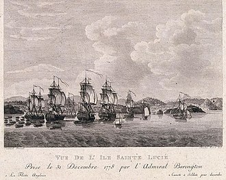 Capture of St. Lucia - View from the island of St. Lucia in December 1778 taken by the squadron and the troops of Medows standing.