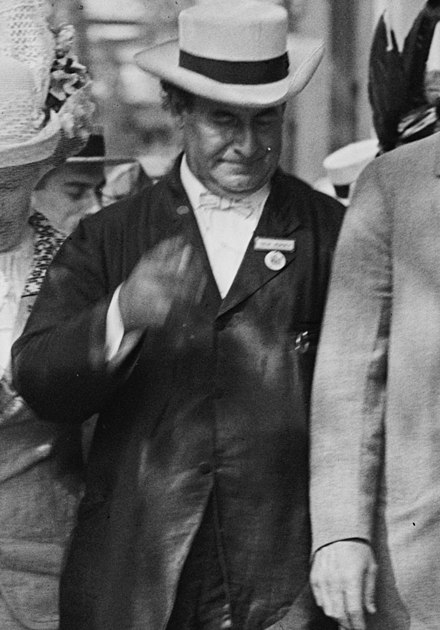 Bryan attending the 1912 Democratic National Convention W.J. Bryan (LOC) (3490812011).jpg