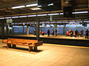 World Trade Center station (PATH) - Platform of temporary station