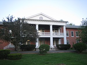 Romney Classical Institute - The central section (behind the portico) of the West Virginia Schools for the Deaf and Blind administration building is the original Romney Classical Institute building.