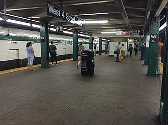 West Fourth Street–Washington Square (New York City Subway) - Image: W 4 St 6th Avenue Line Downtown Platform
