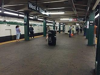 West Fourth Street–Washington Square (New York City Subway) - Image: W 4 St 6th Avenue Line Downtown Platform